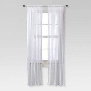"Chiffon Sheer Curtain Panel White 52""x95"" Set of 2"